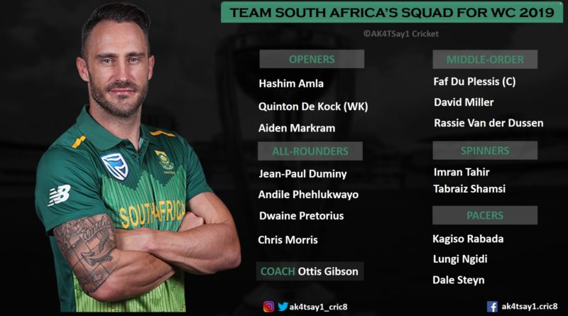 South Africa Squad for World Cup 2019