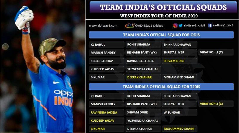 West Indies tour of India 2019 squads