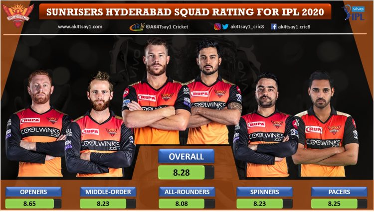 Sunrisers Hyderabad, SRH Squad Rating for IPL 2020